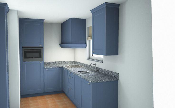 Blauwe landelijk klassieke keuken in 3D | ontwerp: Monique van Koppenhagen | kleuren: duifblauw | werkblad: terrazzo UW-B25 #styling #interieurstyling #interieur #interieurbouw #keuken #blauw #terrazzo #3D #maatwerk #landelijk #klassiek