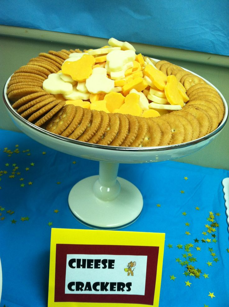 Bens birthday party snack: Tom and Jerry inspired cheese and crackers. Mouse baked cheese and crackers!