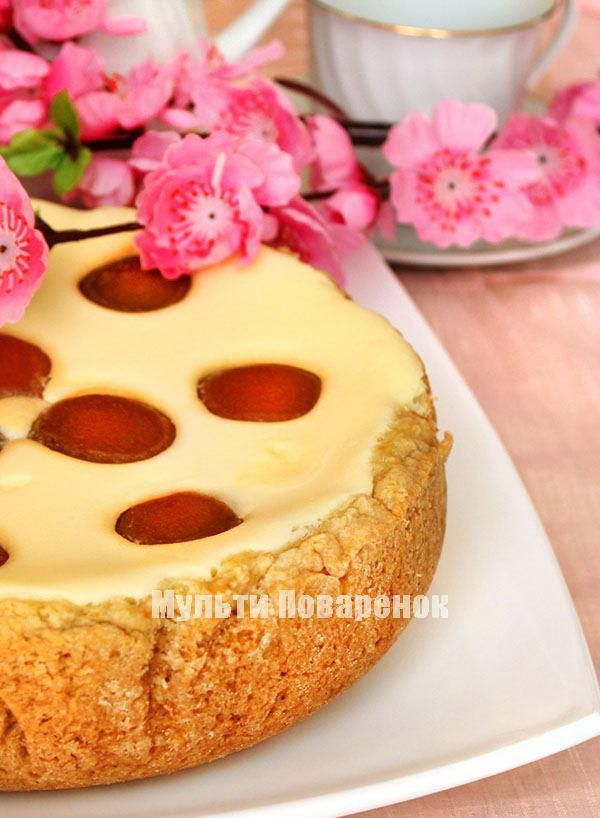 Как испечь творожный пирог с персиками в мультиварке