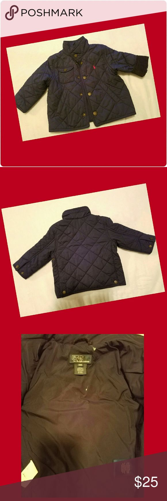 Adorable Polo Jacket Navy jacket, with corduroy accent roll up sleeve. 2 small spots on the inside... as pictured in 3rd photo. Polo by Ralph Lauren Jackets & Coats Puffers