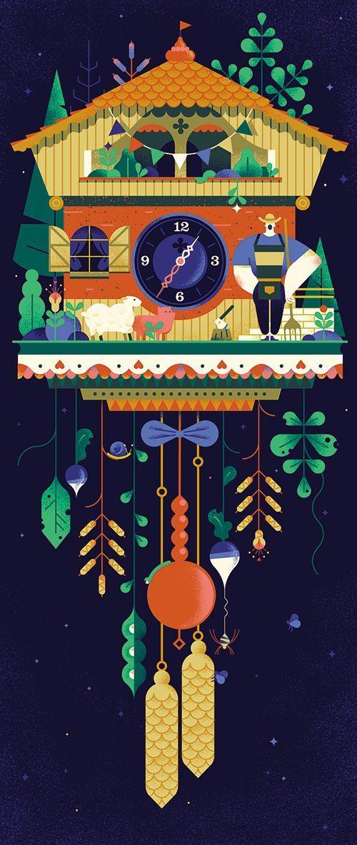 SWISS CUCKOO on Behance Winter Cuckoo clocks vector illustration