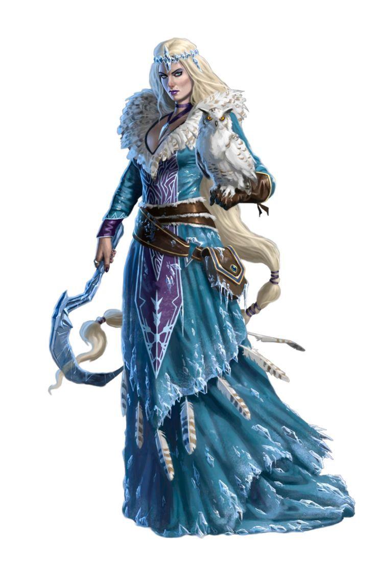 Gaming PinWire: Female Ice Witch with Owl Familiar - Nazhena
