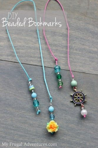 DIY Beaded Bookmark - could even just do half of it and attach it to the purchased bookmarks we have.