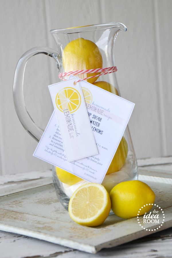 Best Homemade Lemonade...and a free printable to wrap it up and give it as a beautiful gift! Love this!!  theidearoom.net