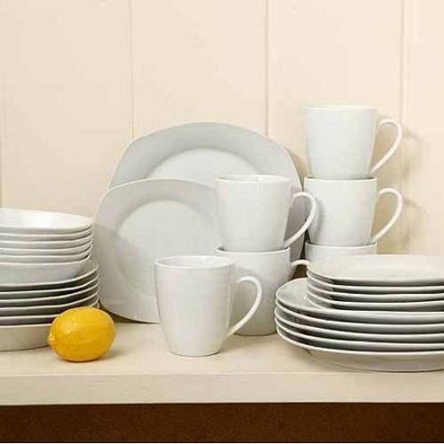 Gibson Home Liberty Hill 30 Piece Square Dinnerware Set Kitchen Dishes  Porcelain #Gibson