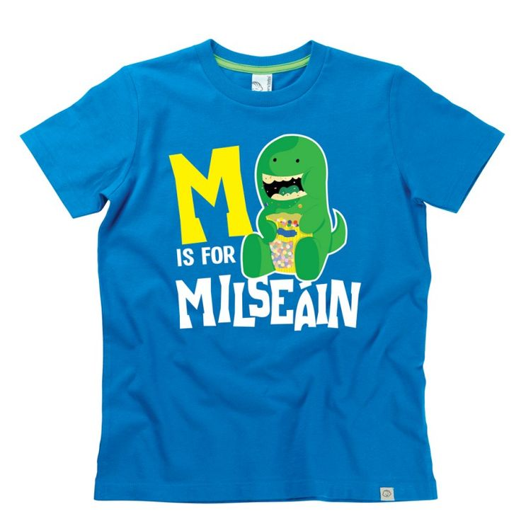 M is for Milseáin Kids Alphabet T-Shirt by Hairy Baby