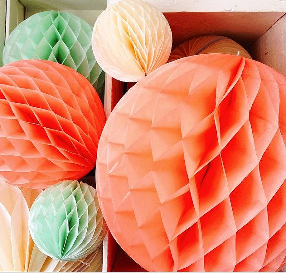 Coral Party Decorations  Honeycomb Balls  by thepartiesthatpop