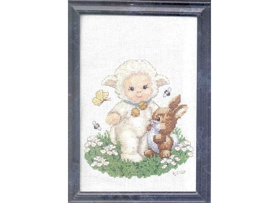 Completed Cross Stitch  Lamb Baby by dannileifer on Etsy, $12.88