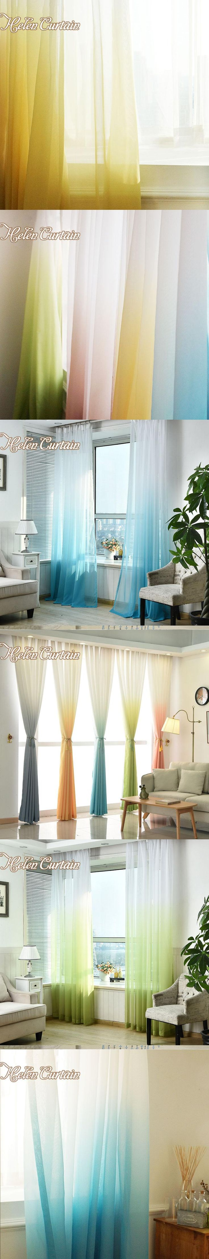 Helen Curtain Modern Gradient Solid Tulle Curtains For Living Room Blue Tulle Curtain Grommet Kitchen Curtains Window Treatment