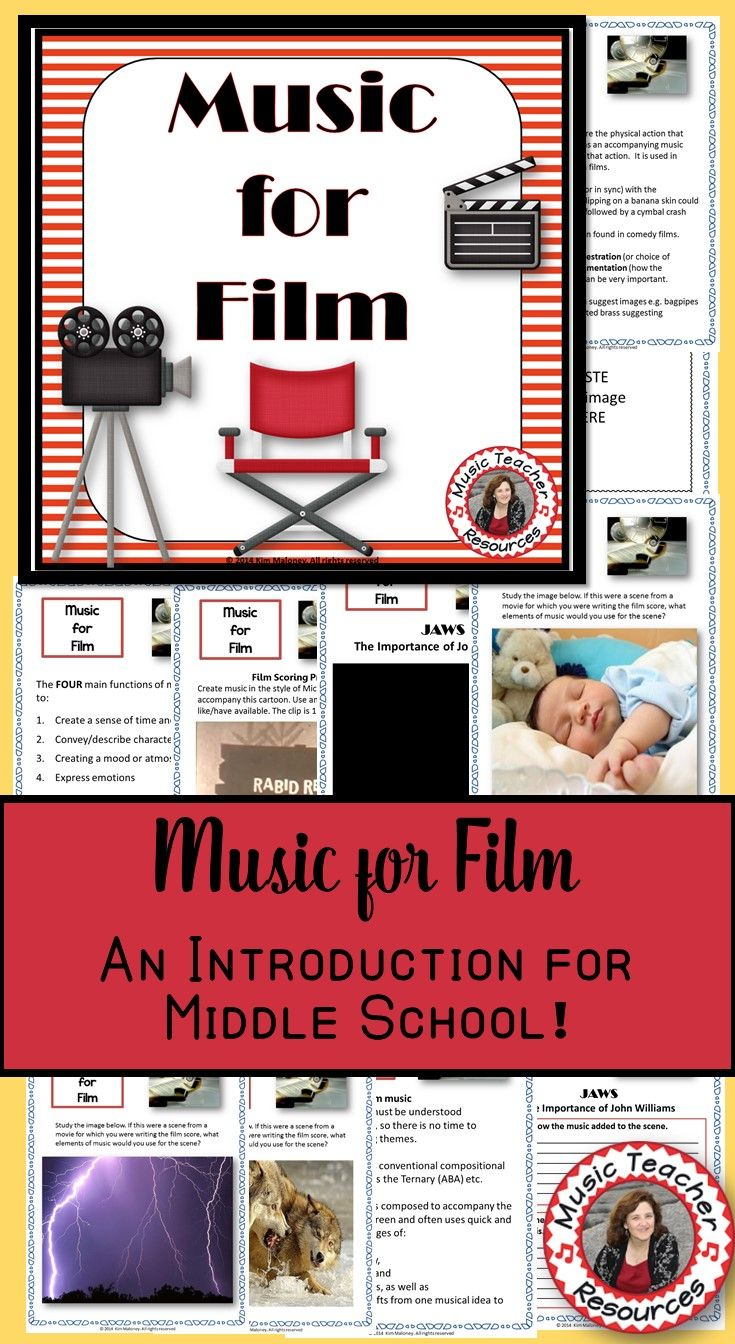 Music for Film for Middle School music ♫ This resource is a 22 page PDF file with information about the purpose of music in films, links to videos, as well as written response activities for students ♫ Print off the students response pages individually or combine to create a student workbook. ♫ CLICK through to read more or save for later! ♫