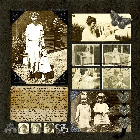 Olga's Album, pg. 1 ~ Two page heritage layout with a great traditional scrapbook design. For a change of pace, I love the look of multiple photos scrapped into a patchwork pattern with minimal embellishments. Here the photos really shine!
