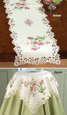 Hummingbird Embroidered Table Linens