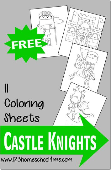 Here are some fun and FREE printable Knight themed Coloring Pages for Toddlers and Preschoolers to color from 123 Homeschool 4 Me. These are great