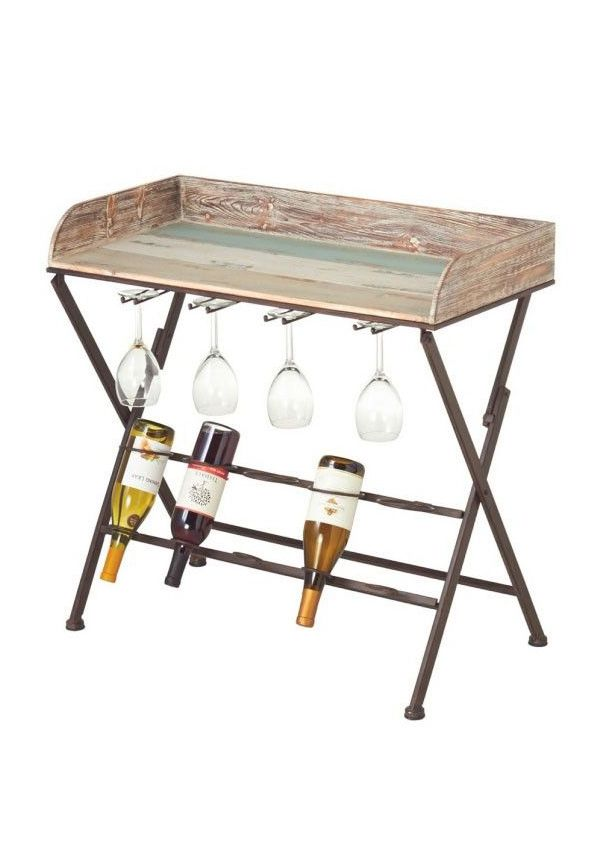 multifunctional distressed wood wine table