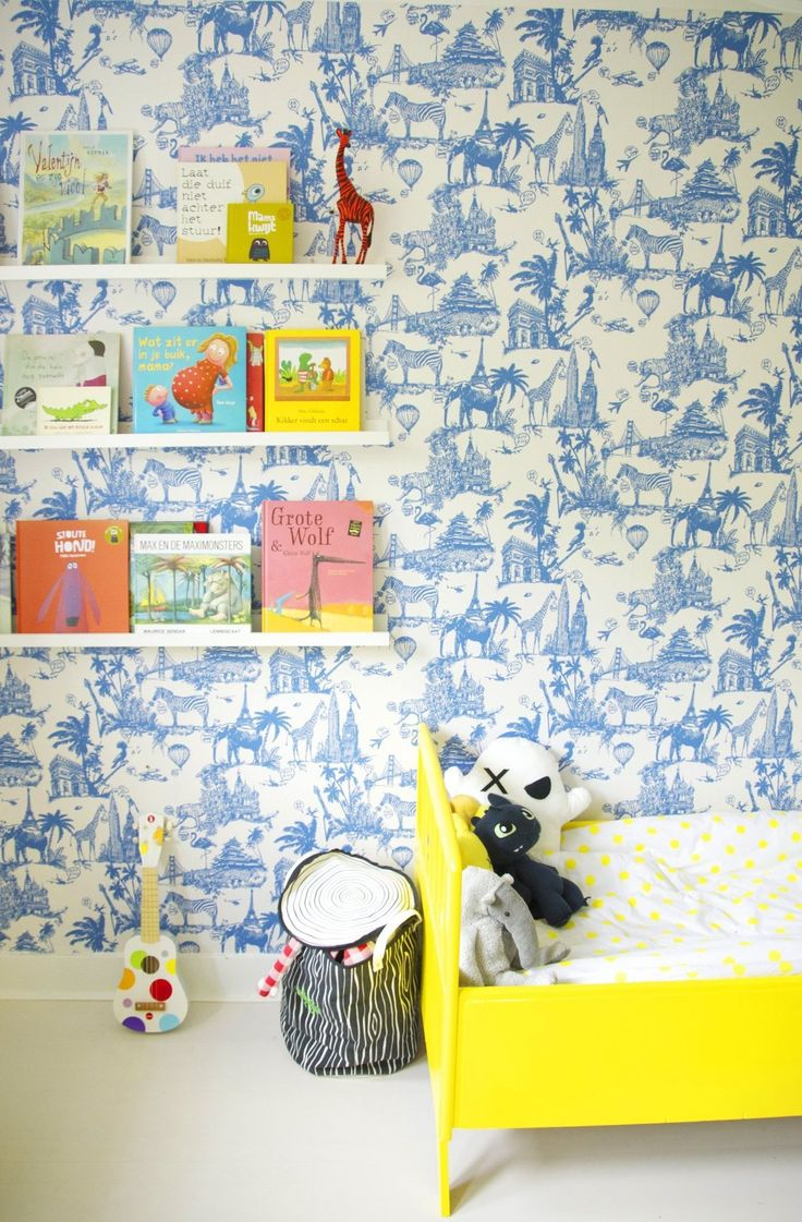 Oscar 39 s bright bold abode kids room tour oscars for Kids room wallpaper