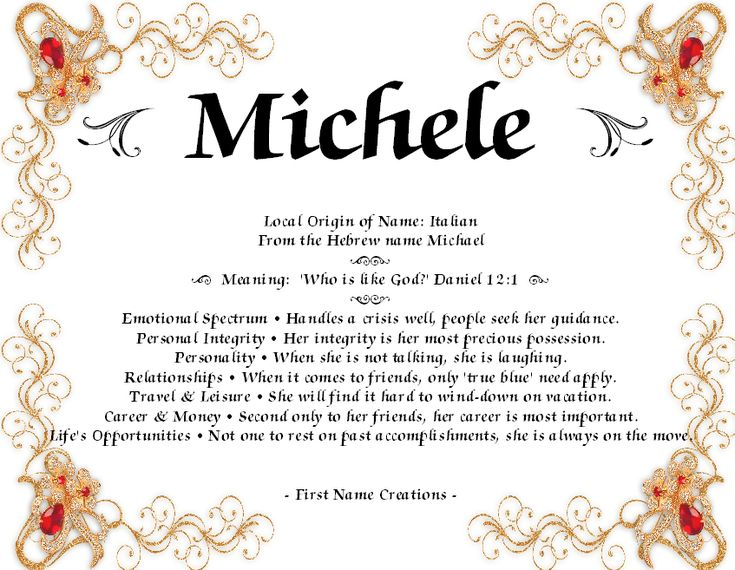 Michele name meaning first name creations m i c h e l for Foyer meaning in english