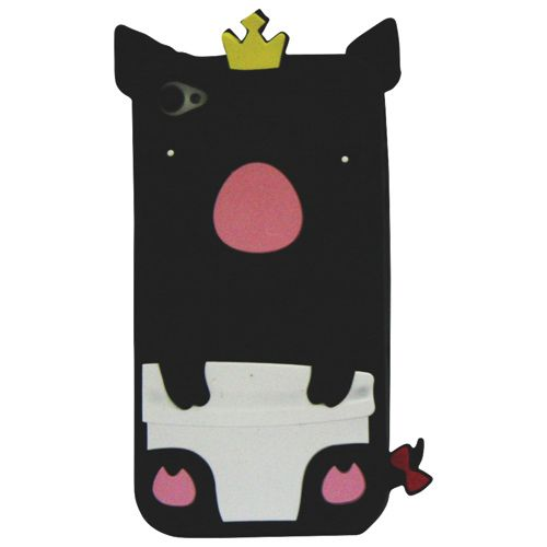 Exian Pig iPhone 4/4s Soft Shell Case - Black                         - Web Only