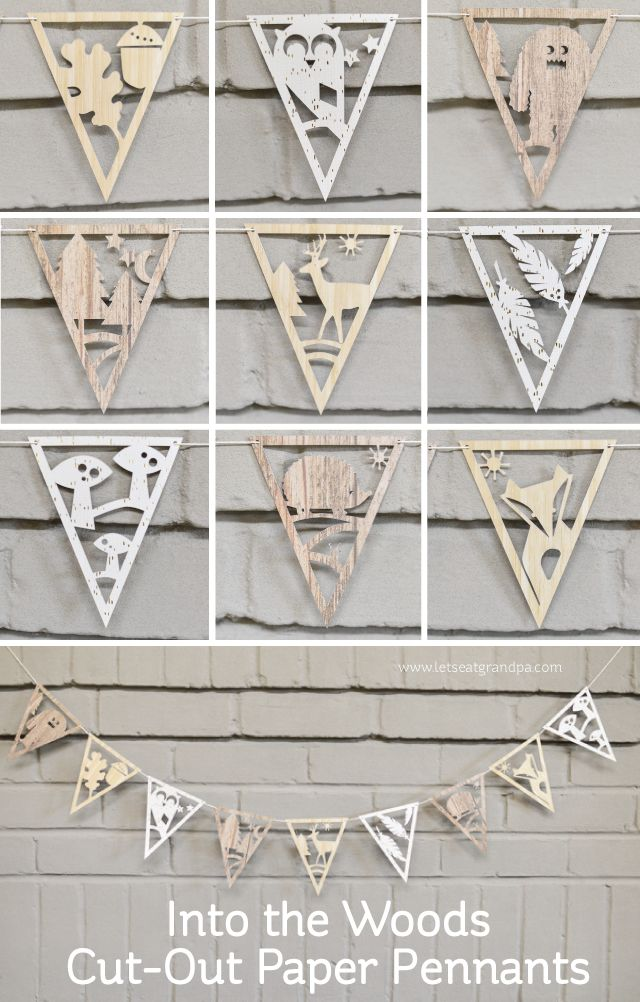 Into the Woods Festive Cut-Out Paper Pennants made with a Cricut Explore -- Let's Eat Grandpa. #DesignSpaceStar Round 3