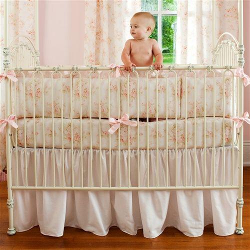 Light Pink Cotton Crib Skirt Gathered