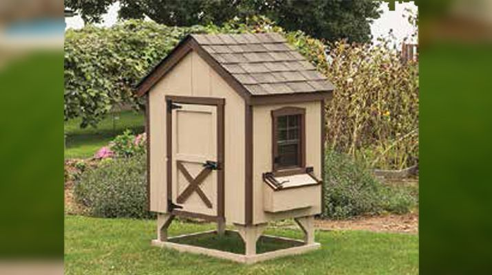 Model AF34 - 3' x 4' A-Frame shown with buckskin paint, brown trim, and weatherwood shingles - Holds 4 to 6 chickens