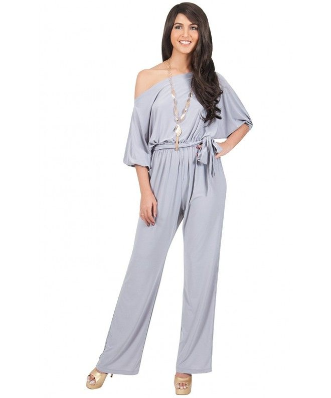 210882394764 Womens One Off Shoulder Short Sleeve Piece Jumpsuit Pant Suit Romper - Gray    Grey - C011E56QIML