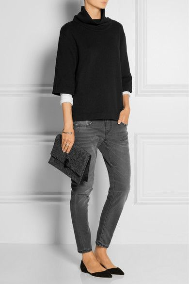 James Perse (sweatshirt). R13 (jeans). Jimmy Choo (flats). Proenza Schouler (clutch).