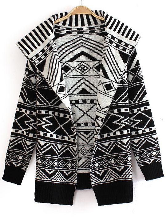 Black and White Wide Lapel Geometric Pattern Knitting Coat US$36.07