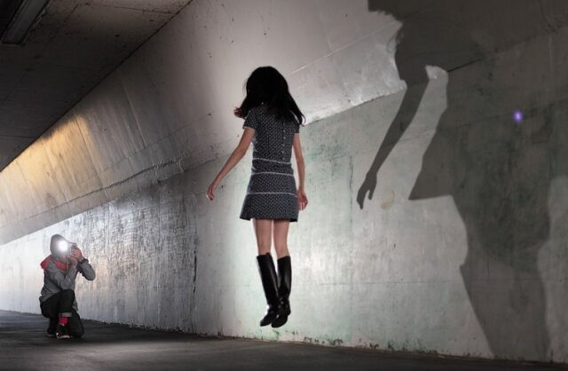 Natsumi Hayashi ('Levitating Girl'). No photoshop, just innovation and good camera work. You won't believe the pics.  http://yowayowacamera.com/