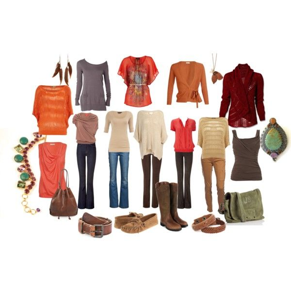 """""""True Autumn Soft Natural"""" by sensualbohemian on Polyvore  (I love the drapey styles...not the colors!)"""