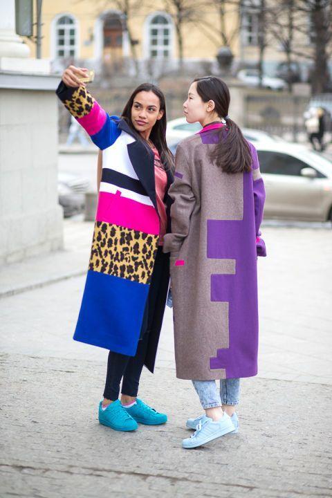 Street Style Friends Serona Liana and Alexandra Chokaeva wearing Outlaw Moscow at Moscow Fashion Week Fall 2015