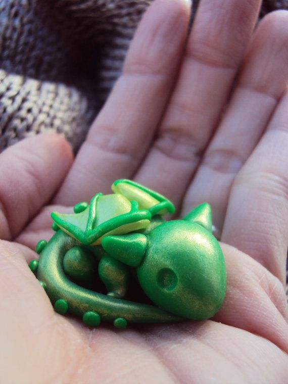 Miniature Pet Dragon Fairy Garden Polymer Clay by HelloLittleCloud. This little guy needs an owner :)