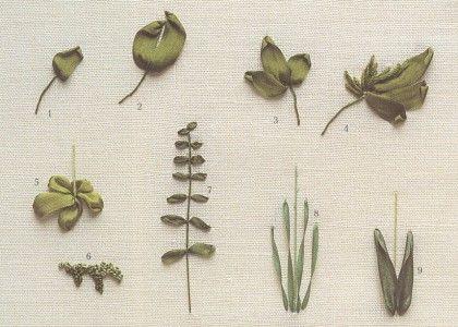 как вышить листики зелеными лентами