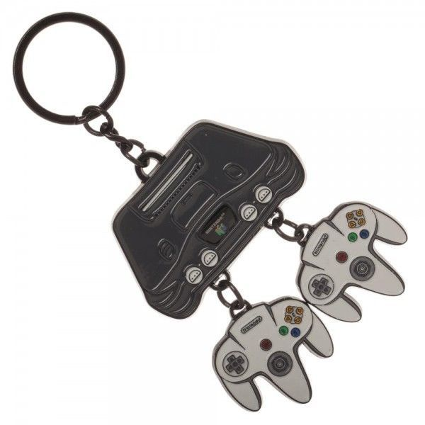 Nintendo 64 System Key Chain Console + Controllers Keychain Classic N64 NES