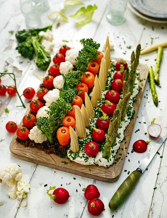 'Edible garden' crudités and dips - a cool new twist on an old classic. Almost too pretty to eat