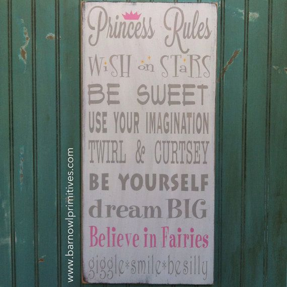 Princess Rules Sign  Typography Word Art by barnowlprimitives