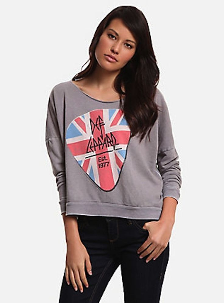 Trunk LTD Def Leppard Womens Pullover Sweatshirt Hi Low *M #TRUNKLTD #GraphicTee