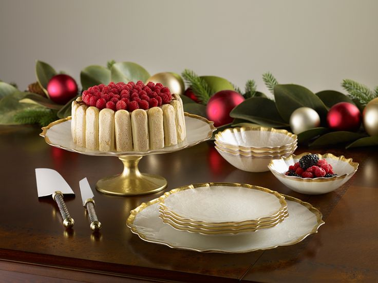 Gilded Pearl Dessert Collection | Christmas Tabletop Accessories