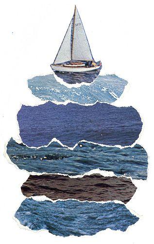 Stroken blauw laten opzoeken in bijv. tijdschriften... en het bootje zelf door leerlingen laten tekenen.