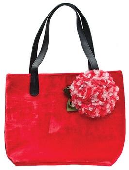Hydrangea Silk Velvet Tote Bag