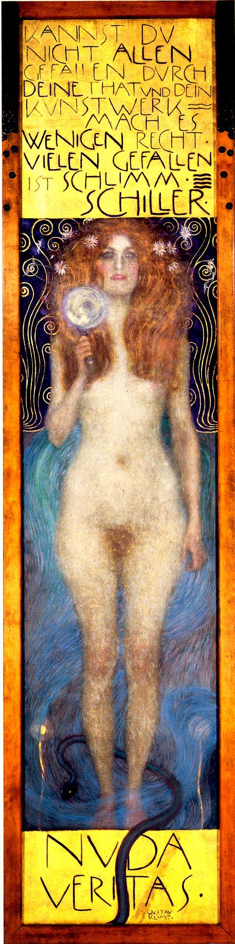 "Gustav Klimt (1862-1918) : "" Nuda Veritas = the Naked Truth "" , 1899 ,oil on canvas , 252 x56,2 cm , Austrian Theater Museum , Vienna . The model is Mizzi Zimmermann who gave Birth two sons to Klimt ."