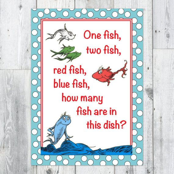 Dr seuss party game number of fish guessing game for One fish two fish red fish blue fish