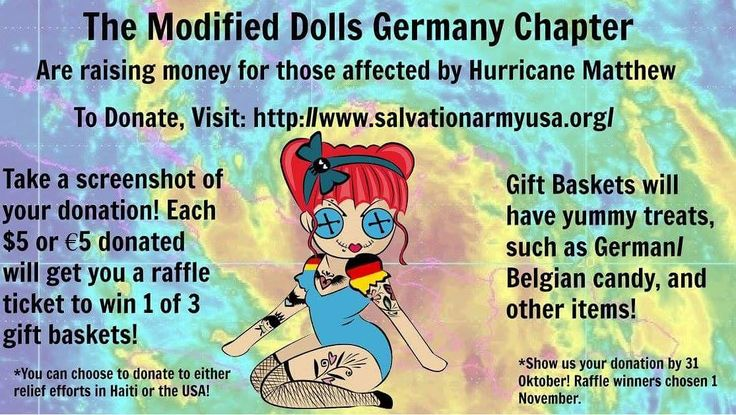 The Modified Dolls Germany Chapter are #fundraising for those affected by Hurricane Matthew. #Donate for a good cause and get a chance or more to win a gift basket full of German/Belgian goodies! For more info, please visit: https://www.facebook.com/events/224274787990456/ #ModifiedDolls #Germany #BuildingChapter #DoGoodFeelGood #HurricaneRelief
