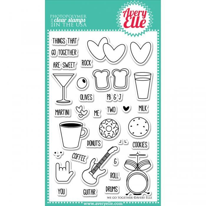 """Avery Elle Clear Stamp Set 4""""x6"""" - We Go Together"""