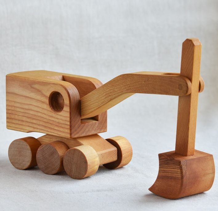 Wooden Toy Steam Shovel, Not sure if this wooden toy is handmade or not but it sure is a nice simple design. #odinstoyfactoy #handmade #handcrafted #woodentoys #toys #tallahassee #florid