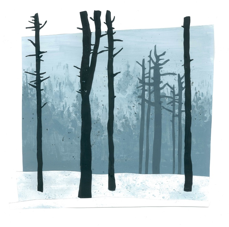Untitled // illustration // colour // paint // cut and paste // realistic // graphic // forrest // wood // woods // tree // trees // blue // white // black // empty // snow // winter // fog