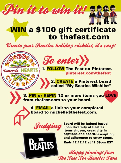 Welcome to our first PIN IT to WIN IT contest!! Repin and spread the word. Can't wait to see your Beatles boards!