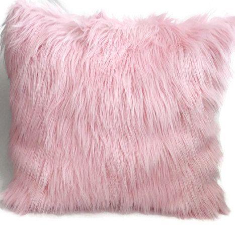 Pink Fur Pillow Cover- Pink Mongolian Fur Pillow- Pink Pillow Cover- Baby Girl Nursery Pillow- Pink Fur Throw Pillow- Fur Accent