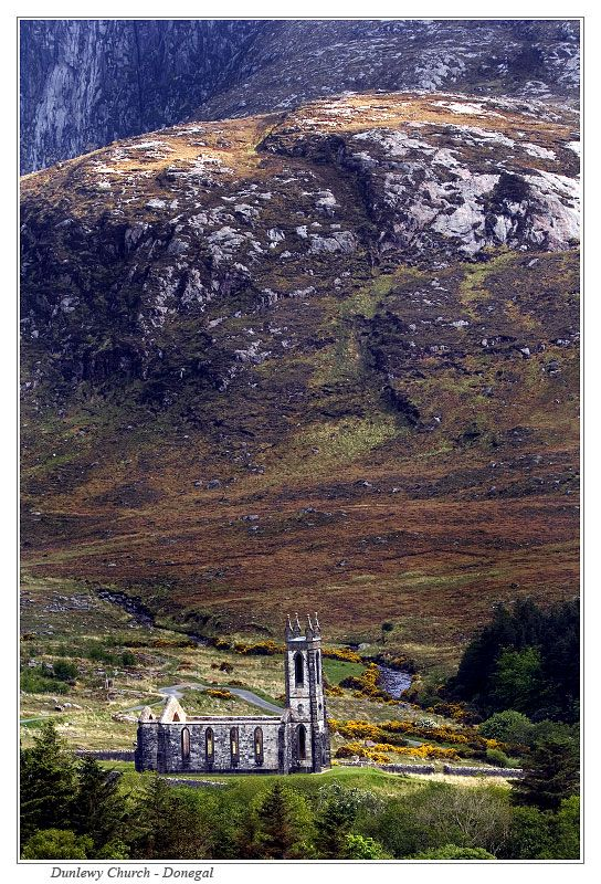 At the end of the road at the entrance to the Poisoned Glen and just past Dunlewy village stands the mute Ruins of Dunlewy Church, Co Donegal, N. Ireland
