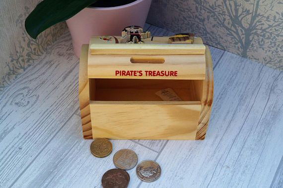 Childrens wooden money box personalised money box pirate