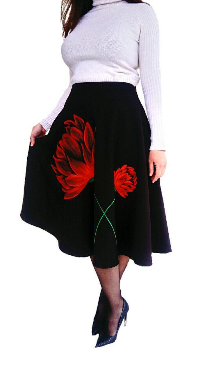Womens Modest Circle Skirt Custom made skirt with flowers Pretty Black Skirt Handpainted Skirt one of a kind by DorasDressRoom on Etsy